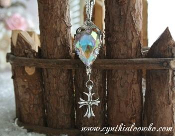 Crystal Drop w/Cross Necklace