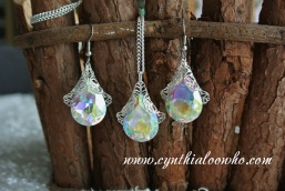Crystal Drop Filigree Necklace and Earrings